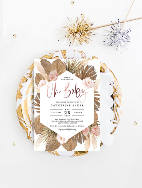 Pampas Grass Oh Baby Shower Invitation GRASS01 Rose Gold
