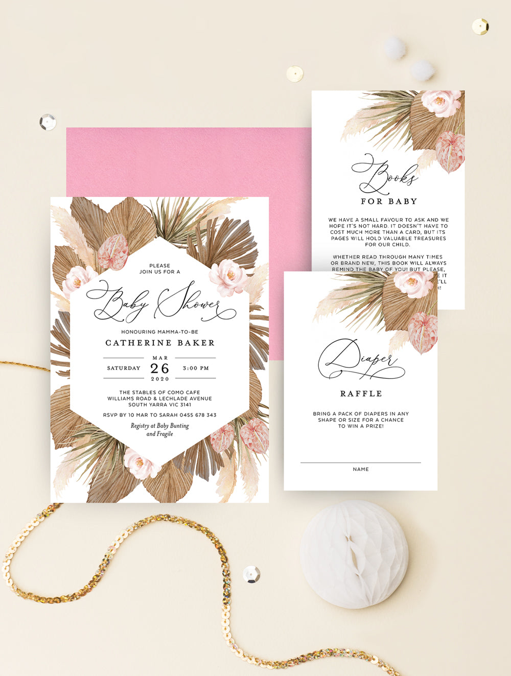 Pampas Grass Oh Baby Shower Invitation 3P GRASS01