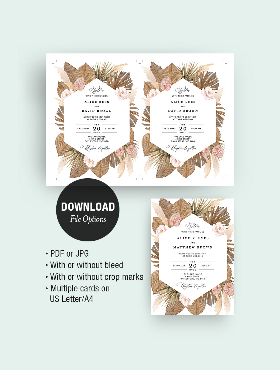 Pampas Grass Wedding Invitation Set #GRASS01