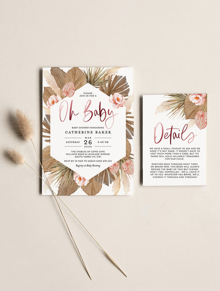 Pampas Grass Oh Baby Shower Invitation GRASS02 Rose Gold_Bright Pink