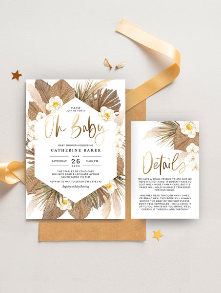 Pampas Grass Oh Baby Shower Invitation GRASS02W Gold
