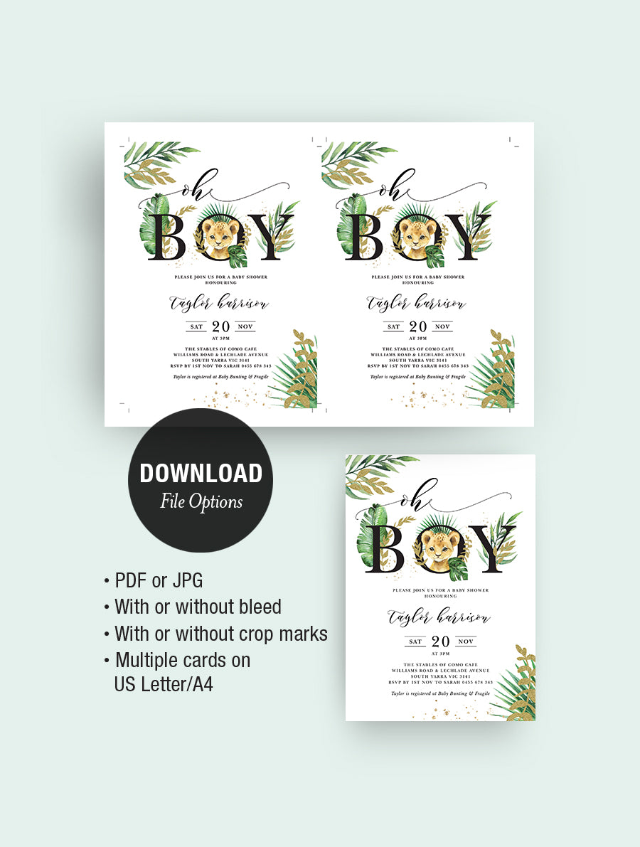 Jungle Baby Lion Baby Shower Invitation JUNG01