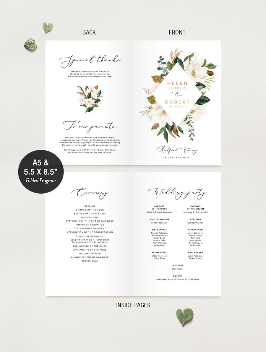 Magnolia Greenery Wedding Program #MAG02