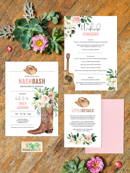 Nashville Bachelorette Invitation Pink #NASH01