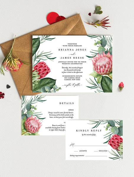Australia Native Protea Wedding Invitation Set #PRO2