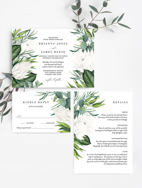 White King Protea Wedding Invitation Set #PRO3W