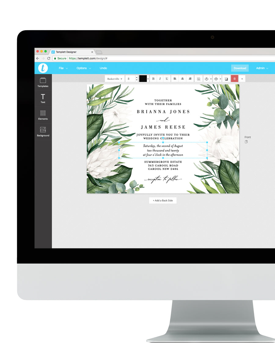 White King Protea Wedding Invitation #PRO3W