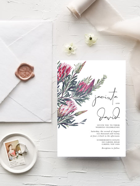 Protea Wedding Invitation Set #PRO4V