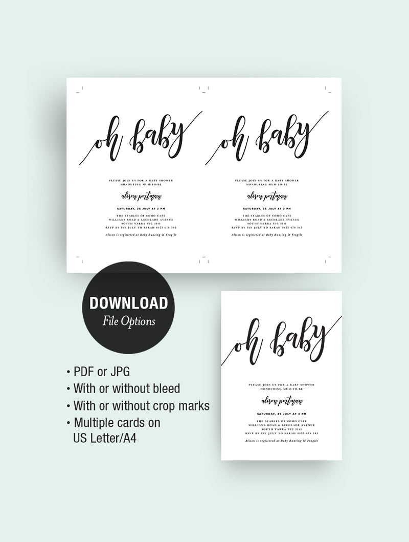 Oh Baby Shower Invitation 3P T002