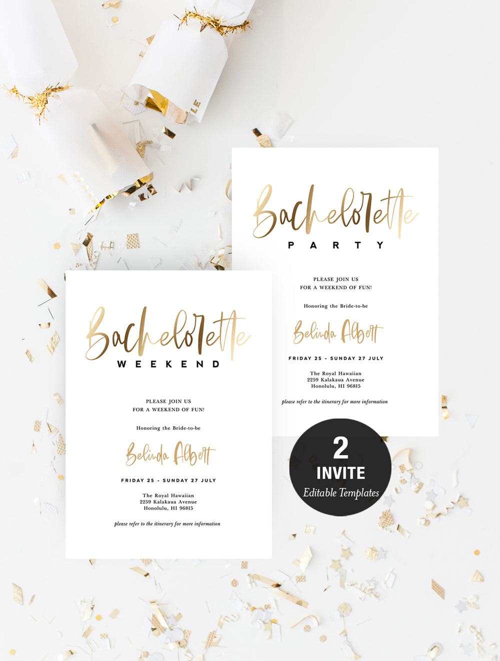 Bachelorette Weekend Invitation Gold #T004
