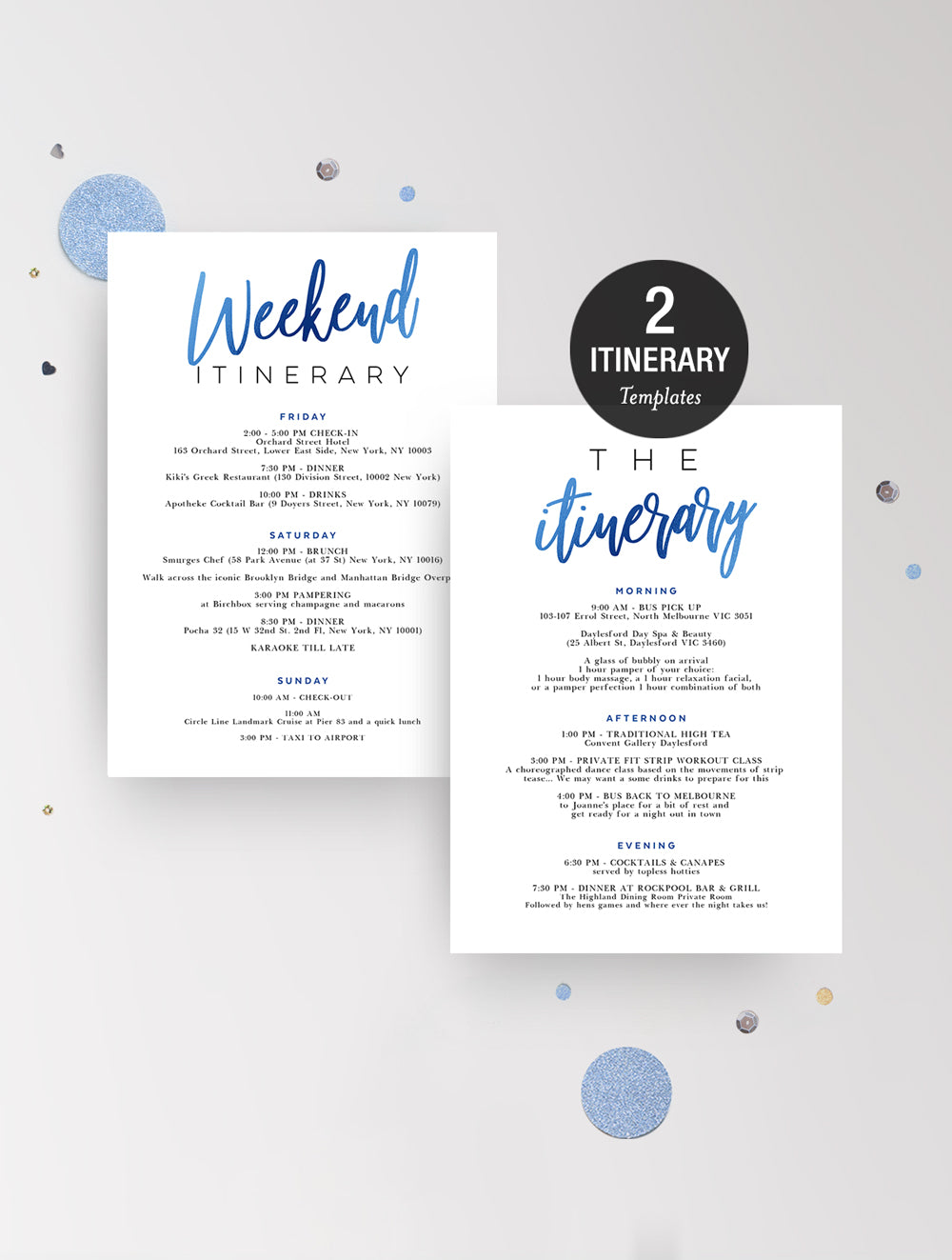 Itinerary - Blue