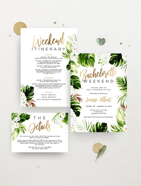 Tropical Paradise Bachelorette Weekend Invitation #TROP04