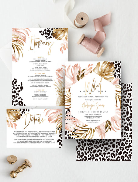 Let's Get Wild Bachelorette Party Invitation, Cheetah Print #TROP07
