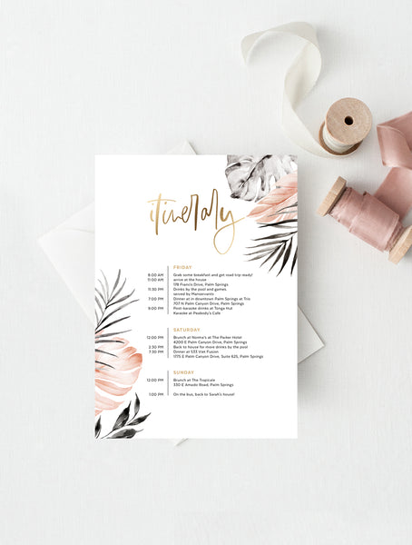 Blush Black Tropical Itinerary #TROP08
