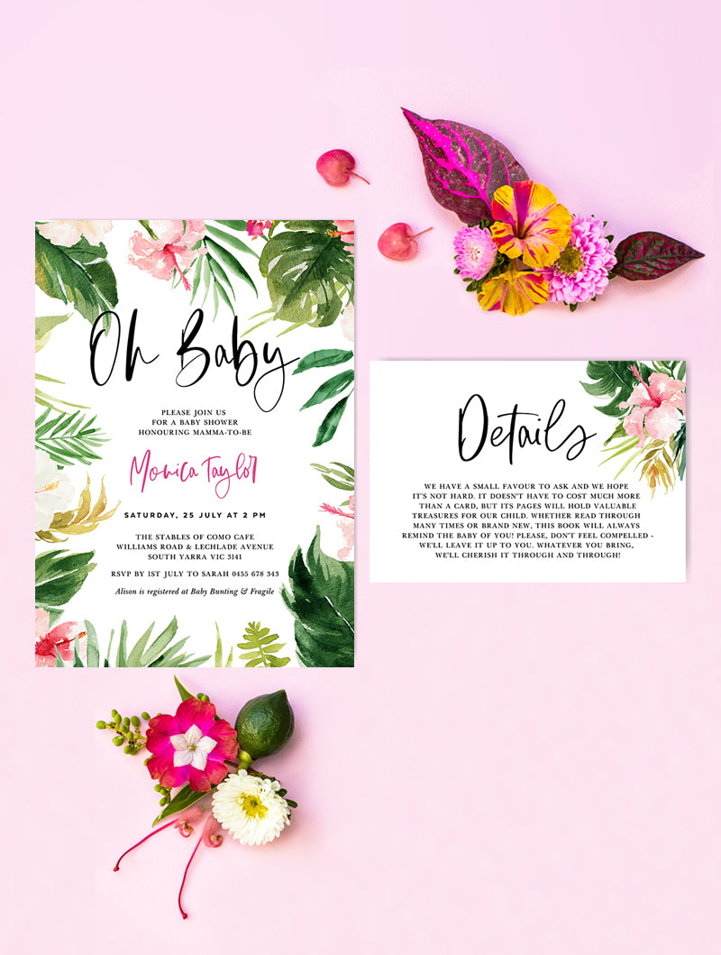 Tropical Baby Shower Invitation 2P #TROP01
