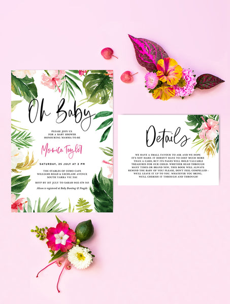 Tropical Baby Shower Invitation 2P TROP01
