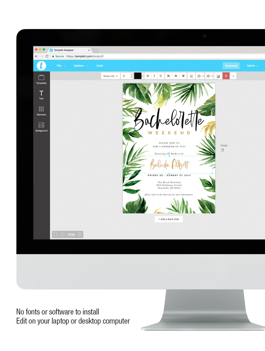 Tropical Palm Leaves Bachelorette Party Invitation #TROP02
