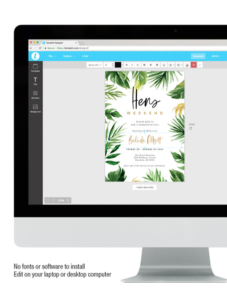 Tropical Palm Leaves Hens Weekend Invitation #TROP02