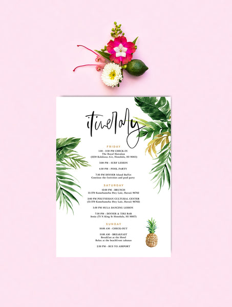 Tropical Palm Leaves Itinerary #TROP02