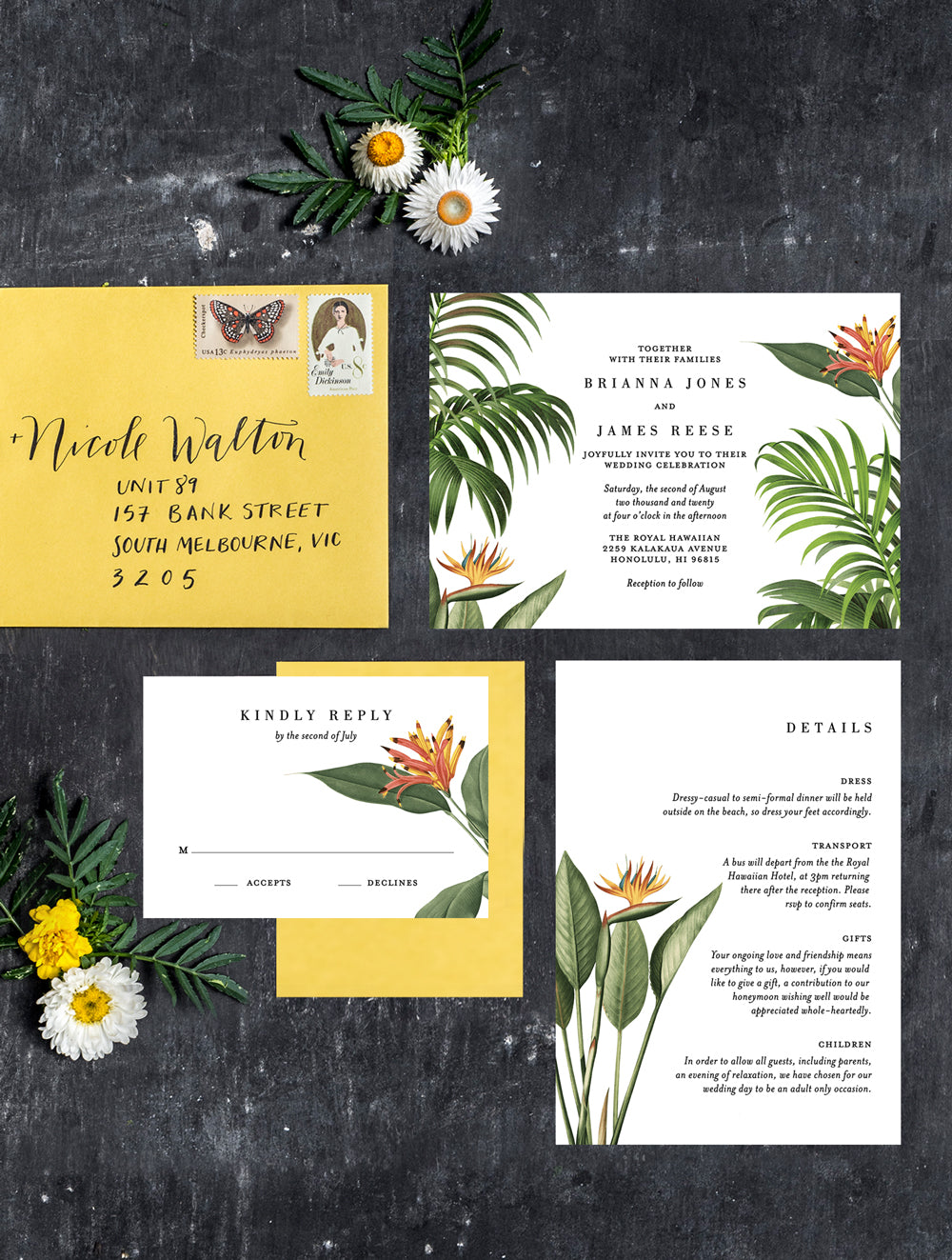 Tropical Botanical Wedding Invitation Set #TROPV05