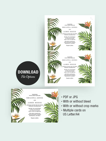 Tropical Botanical Wedding Invitation #TROPV05