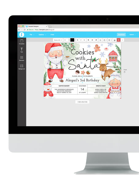 Cookies with Santa Birthday Invitation