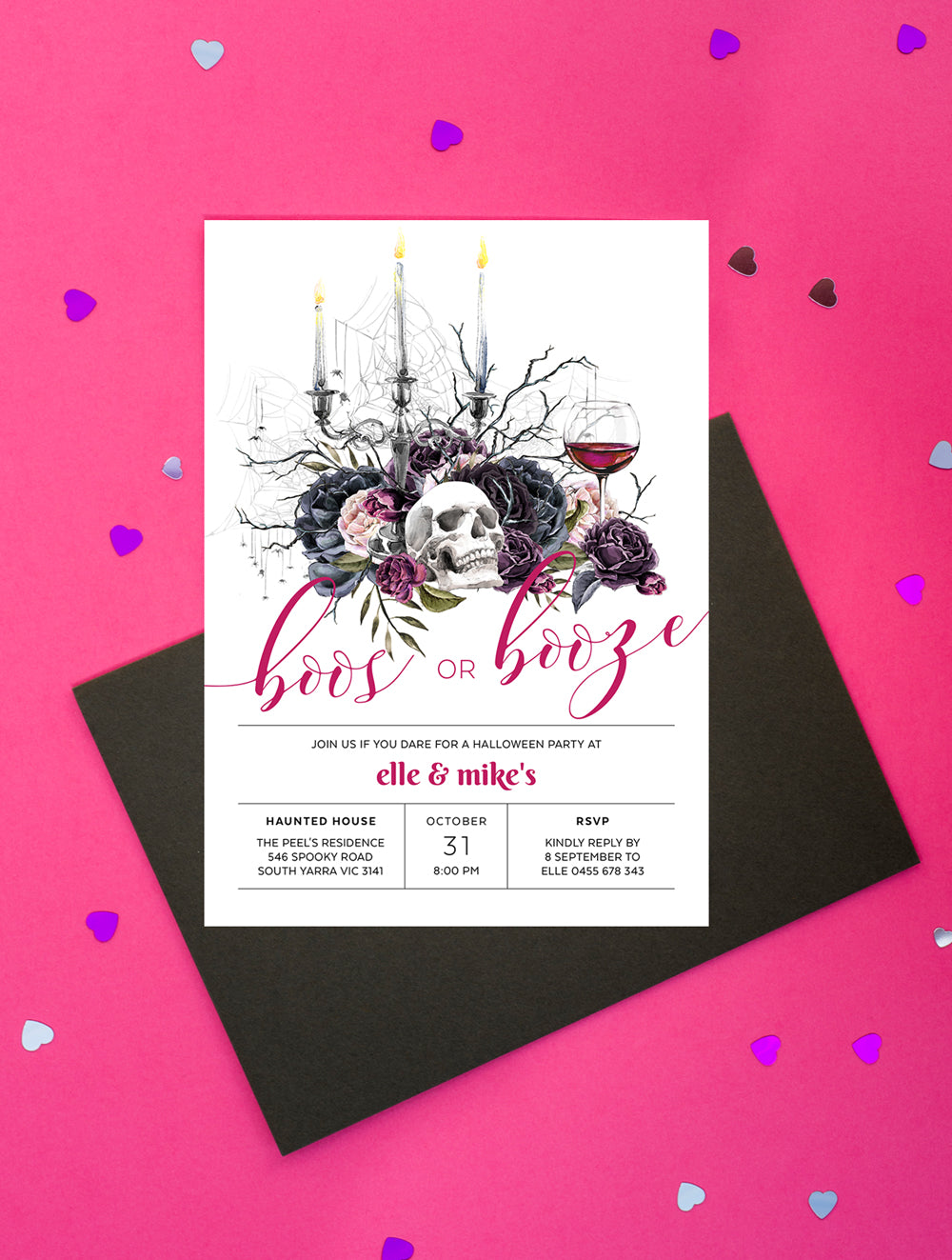 Boos or Booze Halloween Invitation