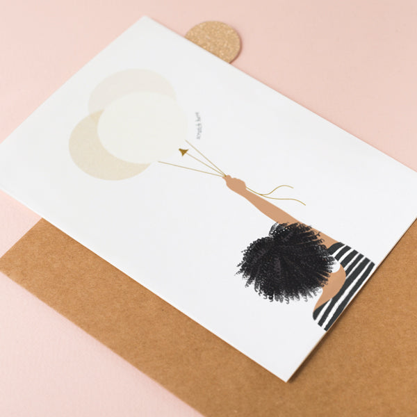 Girl Holding Balloons - Afro Hair Black