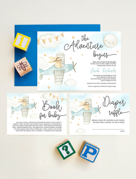 Airplane Baby Shower Invitation - Baby Bunny UPUP1 Blue