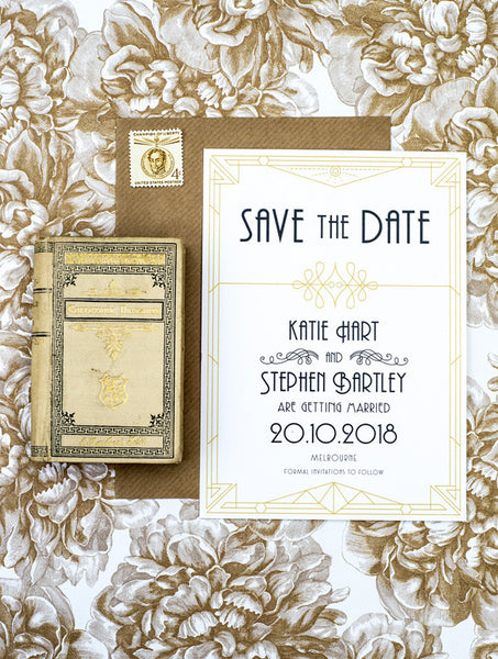 Old Vintage Glamour Save The Date