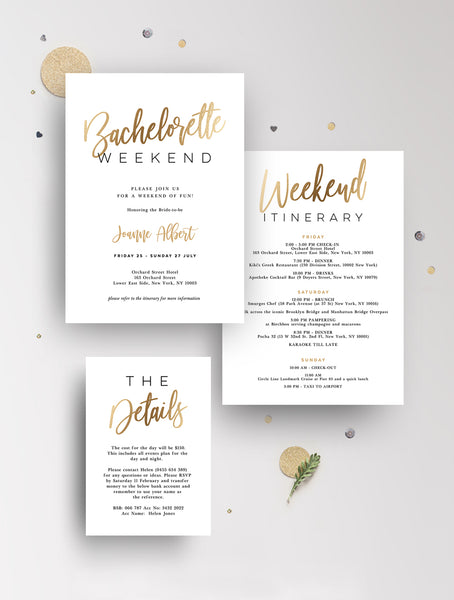 Bachelorette Weekend Invitation Gold