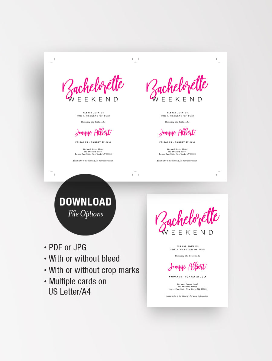 Bachelorette Weekend Invitation Pink