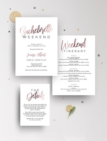 Bachelorette Weekend Invitation Rose Gold