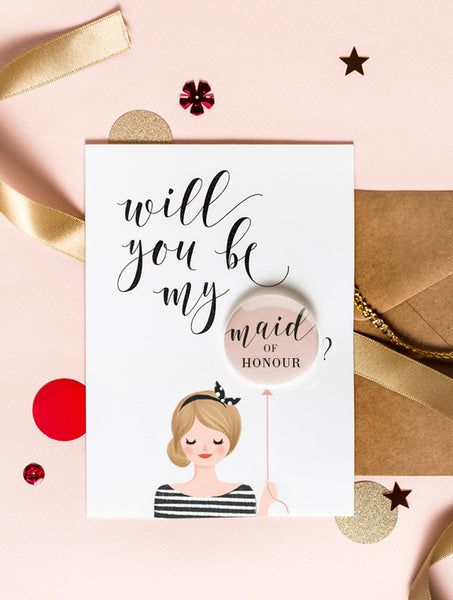 Bridesmaid Badge Card - Bun Hair Blond