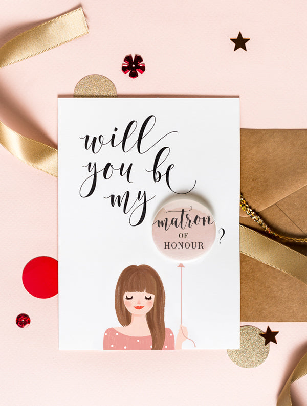 Bridesmaid Badge Card - Long Hair Brown