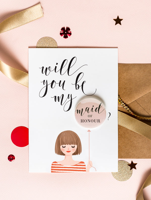 Bridesmaid Badge Card - Bob Hair Brown