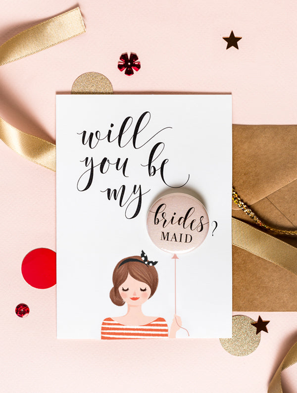 Bridesmaid Badge Card - Bun Hair Brown