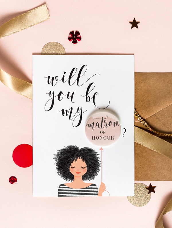 Bridesmaid Badge Card - Afro Black Hair With Tan Skin