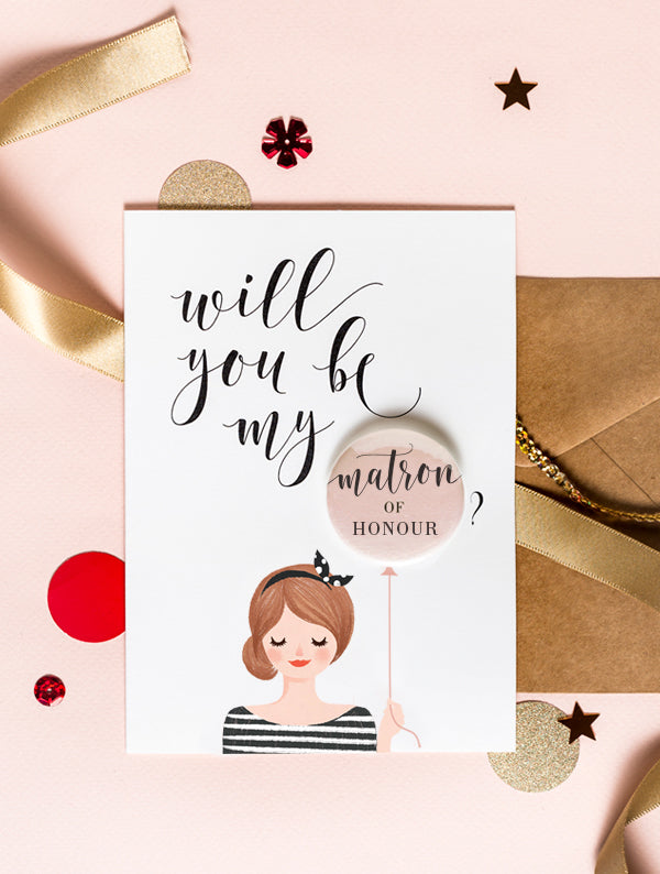 Bridesmaid Badge Card - Bun Hair Red