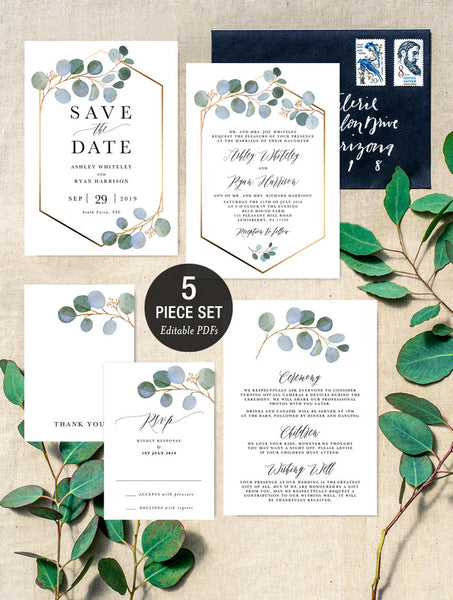 Blue Eucalyptus Greenery Gold Geometric