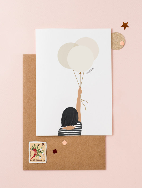 Girl Holding Balloons - Dark Skin Bob Hair Black