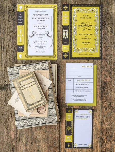 Vintage Library Book Wedding Set
