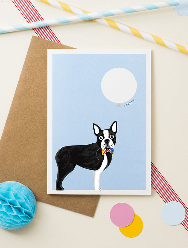 Boston Terrier Dog Scratch Off Card