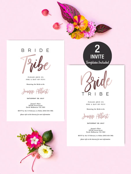 Bride Tribe Invitation Rose Gold