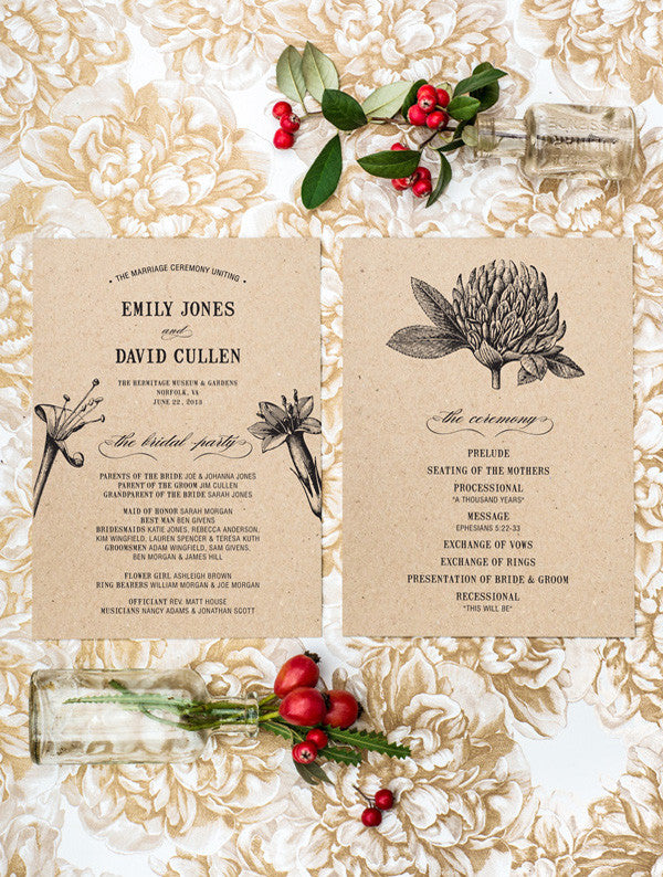 Botanical Flower Wedding Program