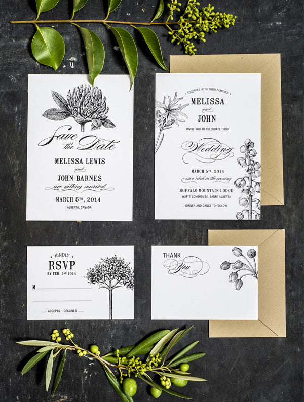 Botanical Flower Wedding Set