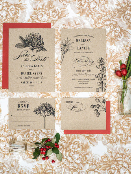 Botanical Flower Kraft Wedding Set