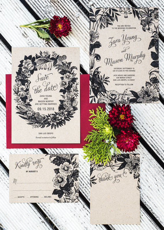 Botanical Flora Wreath Wedding Set