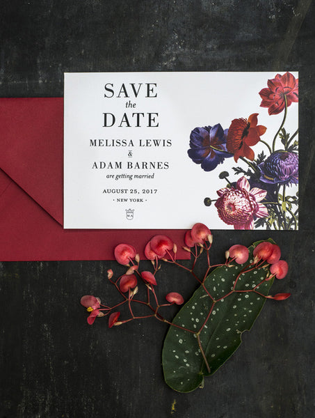 Colour Botanical Illustration Save the Date