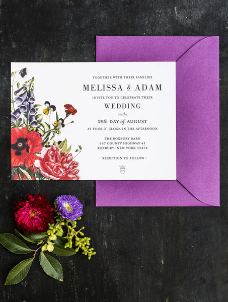 Colour Botanical Illustration Wedding Invitation